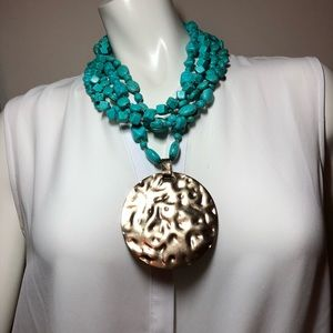 Chico's Gold Pendant & Turquoise Layered Statement